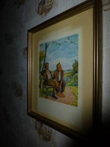 Ein Bild in der Laube, passend zu der Tapete, oder?