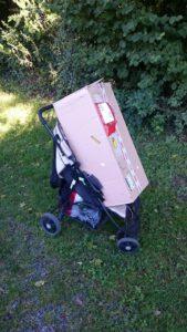 Das Packet mit den Pflanzen passte gut in den Kinderwagen